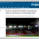 CALCIO: Incendi e minacce, fermato il campionato greco